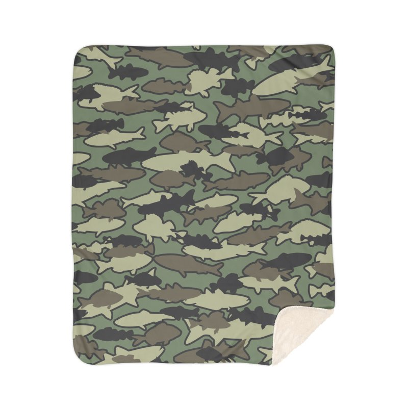 Fish Camo JUNGLE Home Sherpa Blanket Blanket by Grandio Design Artist Shop