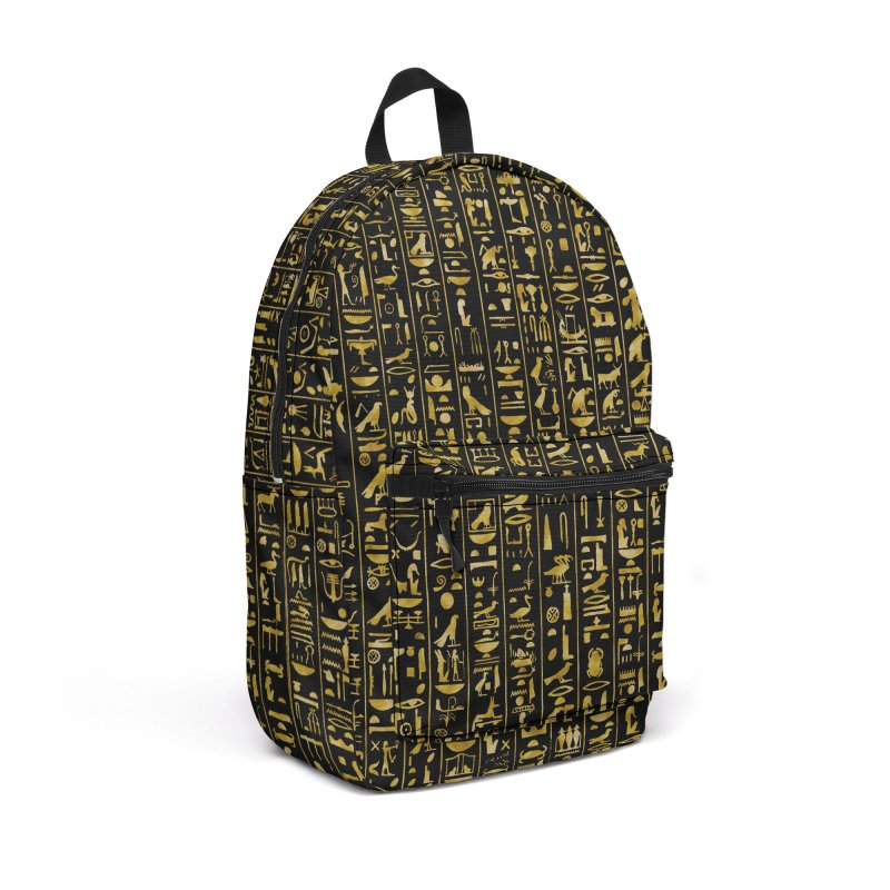 Hieroglyphics GOLD Accessories Backpack Bag by Grandio Design Artist Shop