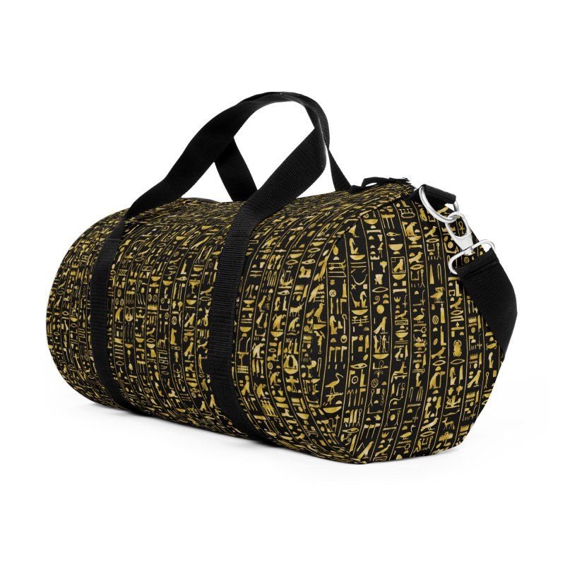 Hieroglyphics GOLD Accessories Duffel Bag Bag by Grandio Design Artist Shop