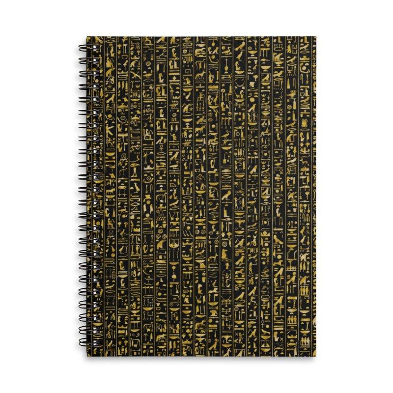 Hieroglyphics GOLD Accessories Lined Spiral Notebook by Grandio Design Artist Shop