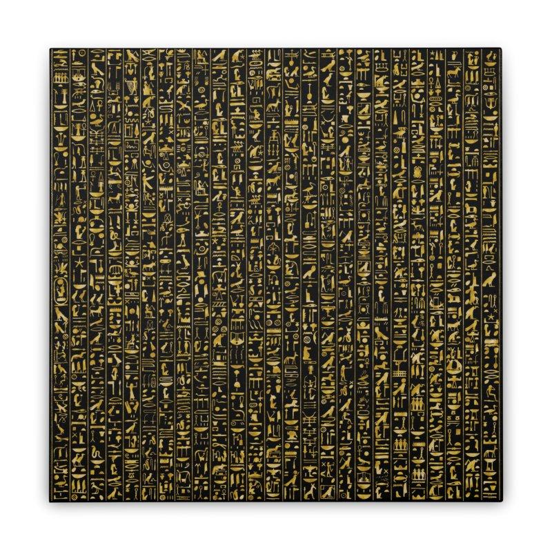 Hieroglyphics GOLD Home Stretched Canvas by Grandio Design Artist Shop
