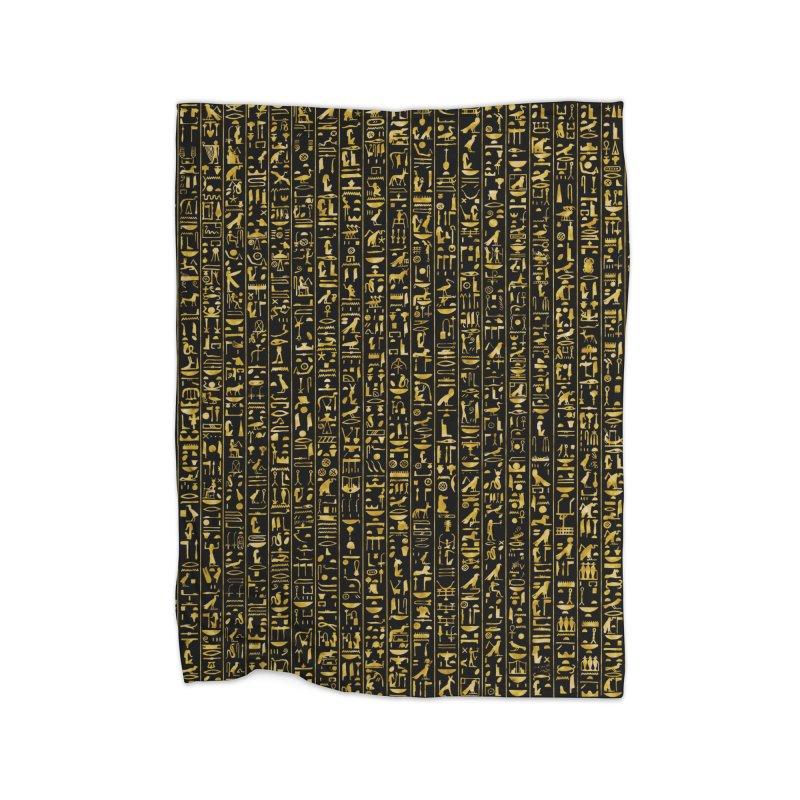 Hieroglyphics GOLD Home Fleece Blanket Blanket by Grandio Design Artist Shop