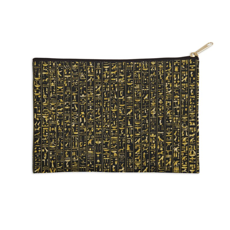 Hieroglyphics GOLD Accessories Zip Pouch by Grandio Design Artist Shop