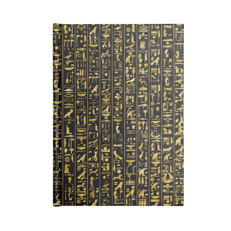 Hieroglyphics GOLD Accessories Lined Journal Notebook by Grandio Design Artist Shop