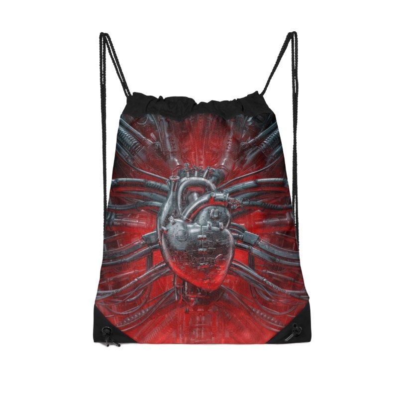 Heart Of The Gamer Accessories Drawstring Bag Bag by Grandio Design Artist Shop