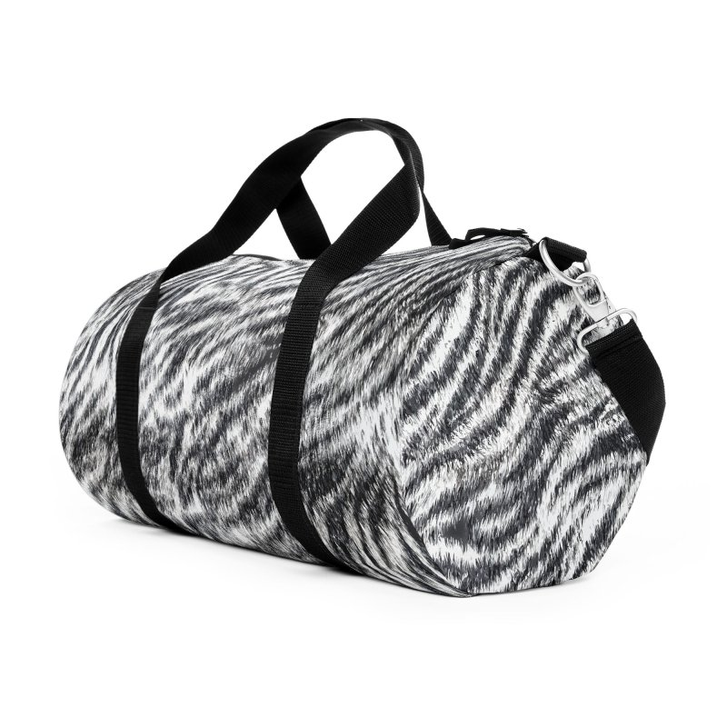 White Bengal Tiger Fur Wildlife Print Pattern Accessories Duffel Bag Bag by Grandio Design Artist Shop
