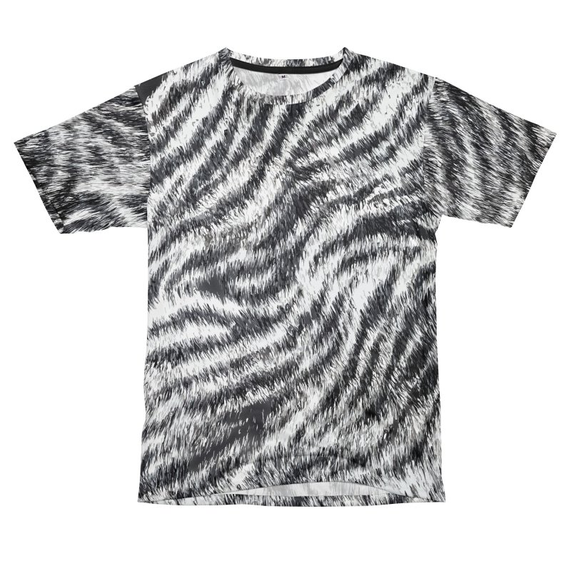 White Bengal Tiger Fur Wildlife Print Pattern Women's Unisex T-Shirt Cut & Sew by Grandio Design Artist Shop