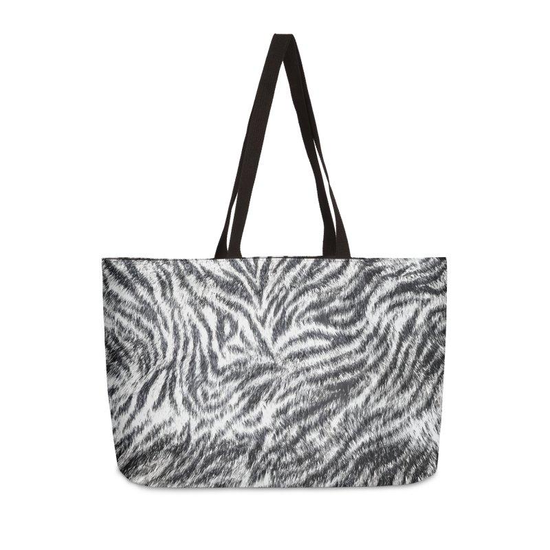 White Bengal Tiger Fur Wildlife Print Pattern Accessories Weekender Bag Bag by Grandio Design Artist Shop