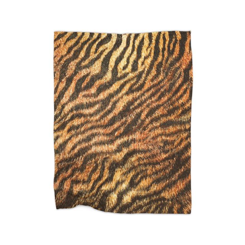 Bengal Tiger Fur Wildlife Print Pattern Home Fleece Blanket Blanket by Grandio Design Artist Shop