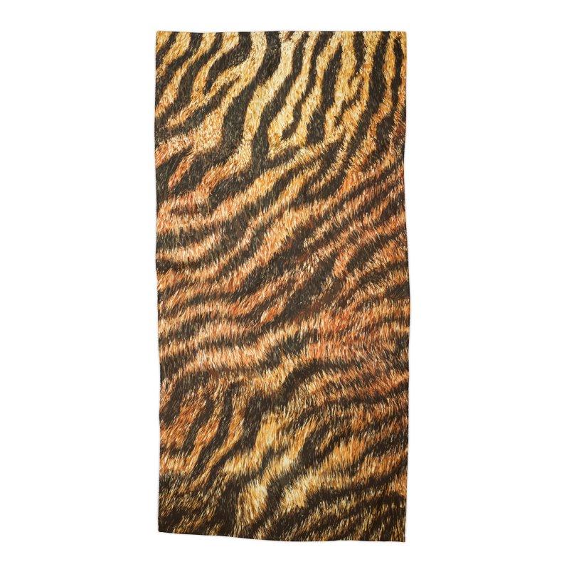 Bengal Tiger Fur Wildlife Print Pattern Accessories Beach Towel by Grandio Design Artist Shop