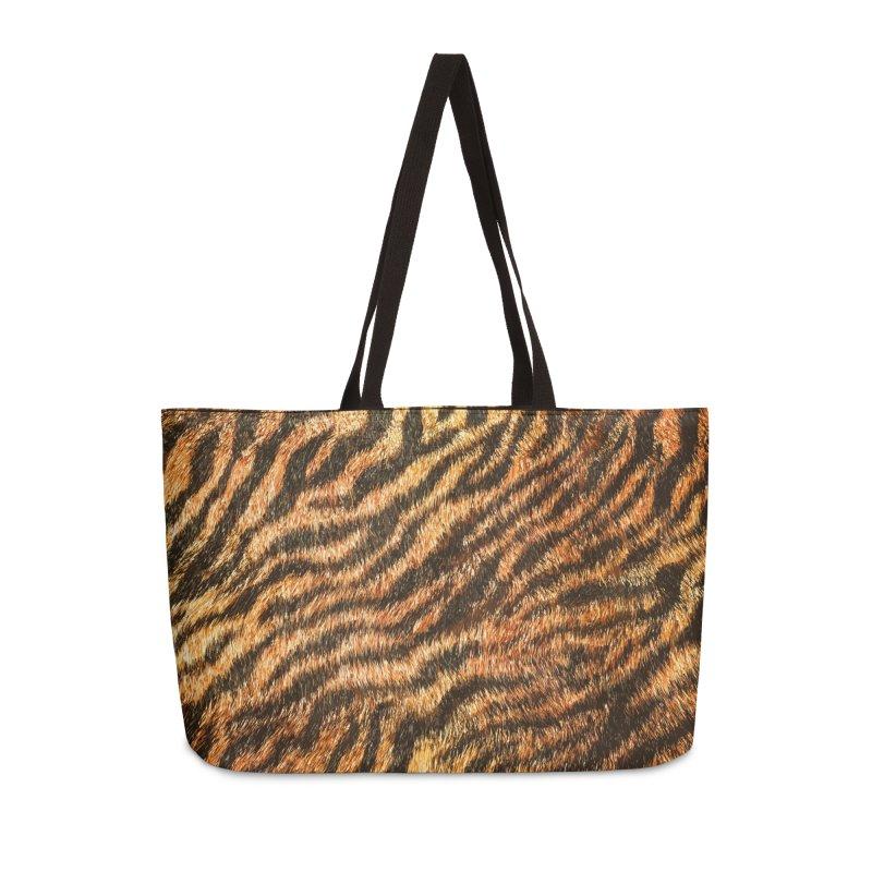 Bengal Tiger Fur Wildlife Print Pattern Accessories Weekender Bag Bag by Grandio Design Artist Shop