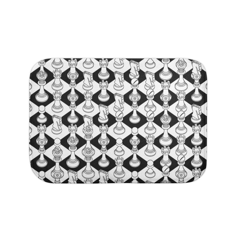 Isometric Chess WHITE Home Bath Mat by Grandio Design Artist Shop