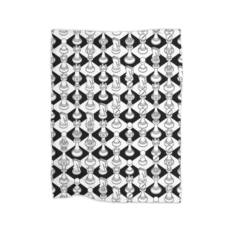 Isometric Chess WHITE Home Fleece Blanket Blanket by Grandio Design Artist Shop