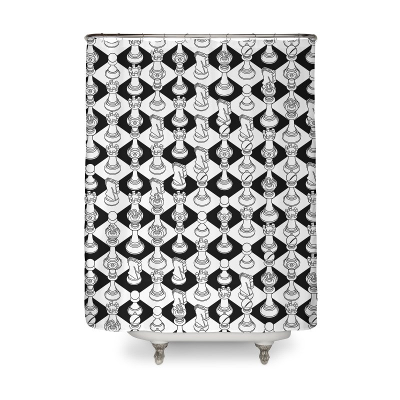 Isometric Chess WHITE Home Shower Curtain by Grandio Design Artist Shop