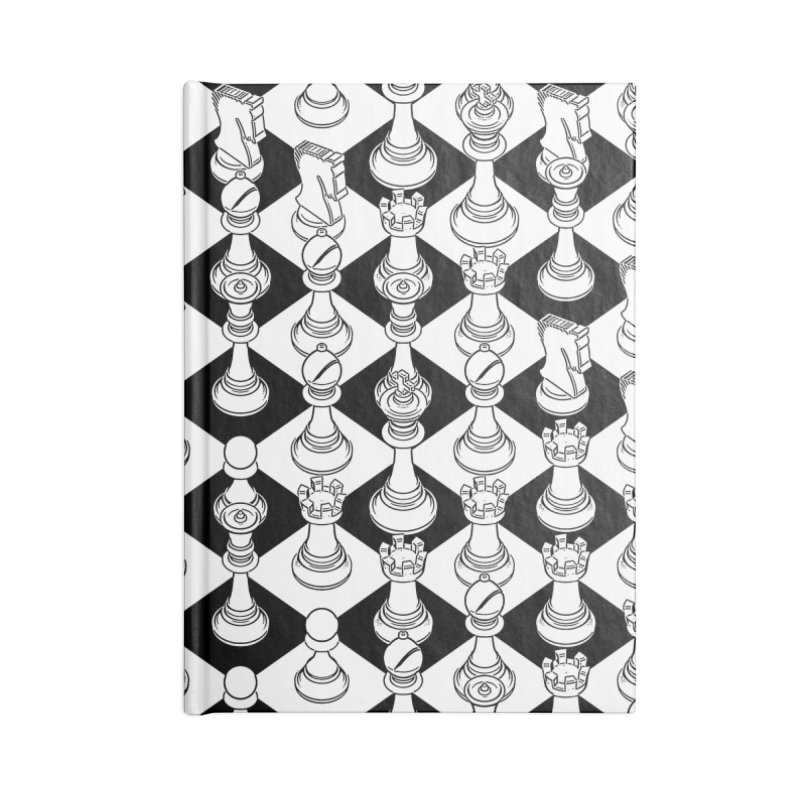 Isometric Chess WHITE Accessories Lined Journal Notebook by Grandio Design Artist Shop