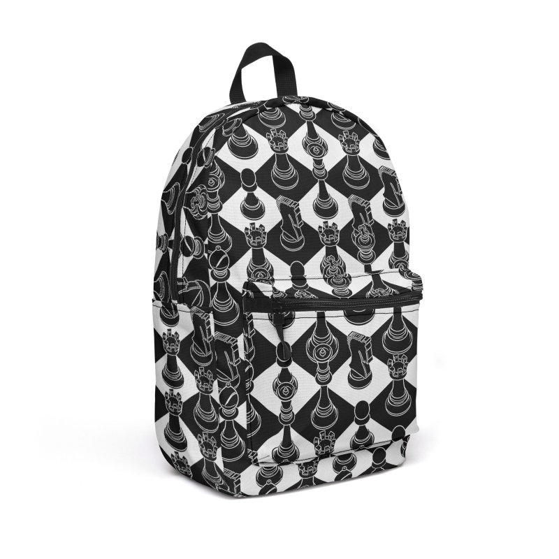 Isometric Chess BLACK Accessories Backpack Bag by Grandio Design Artist Shop