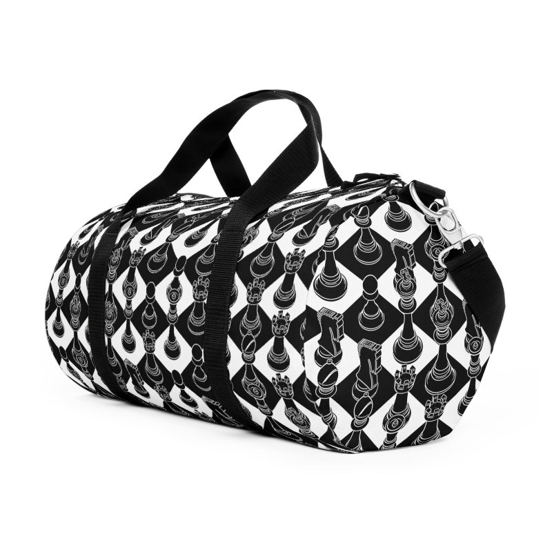 Isometric Chess BLACK Accessories Duffel Bag Bag by Grandio Design Artist Shop
