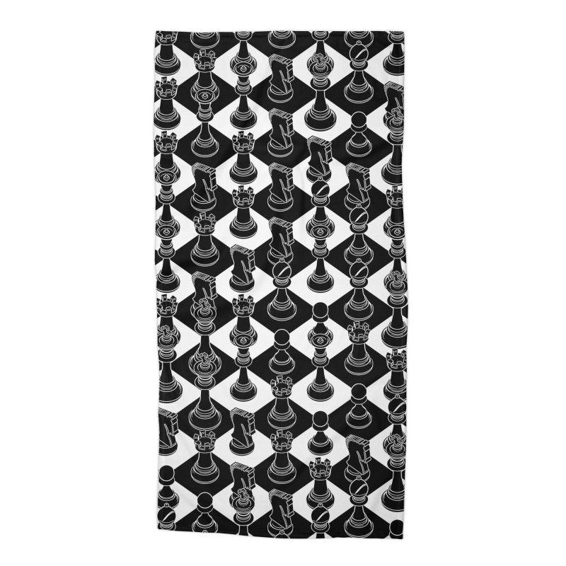 Isometric Chess BLACK Accessories Beach Towel by Grandio Design Artist Shop