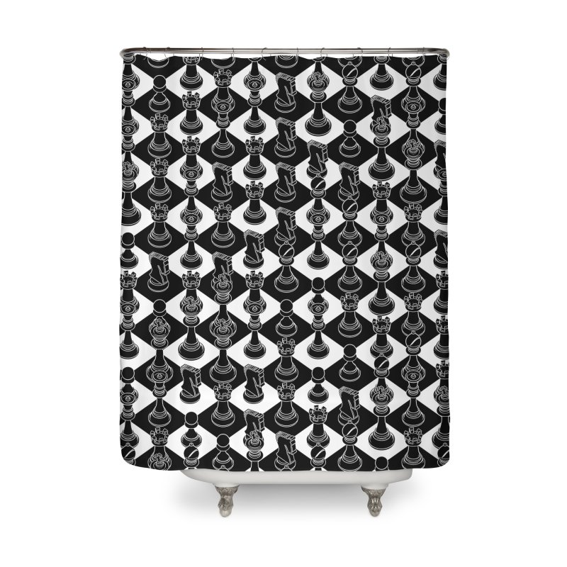 Isometric Chess BLACK Home Shower Curtain by Grandio Design Artist Shop