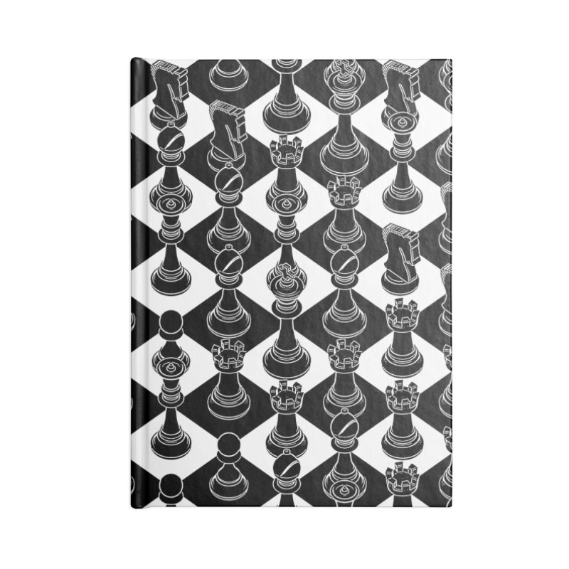 Isometric Chess BLACK Accessories Lined Journal Notebook by Grandio Design Artist Shop