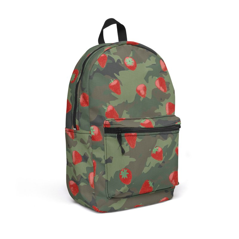 Kawaii Strawberry Camo WOODLAND Accessories Backpack Bag by Grandio Design Artist Shop