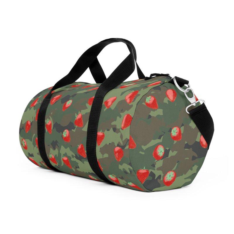 Kawaii Strawberry Camo WOODLAND Accessories Duffel Bag Bag by Grandio Design Artist Shop