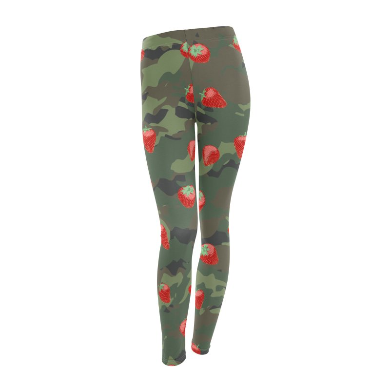 Kawaii Strawberry Camo WOODLAND Women's Leggings Bottoms by Grandio Design Artist Shop