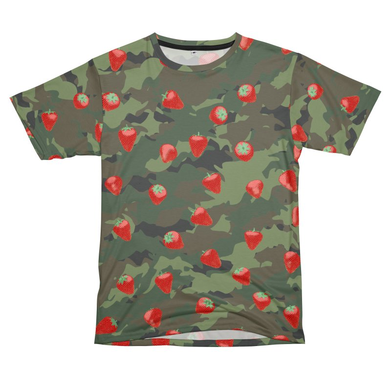 Kawaii Strawberry Camo WOODLAND Women's Unisex T-Shirt Cut & Sew by Grandio Design Artist Shop