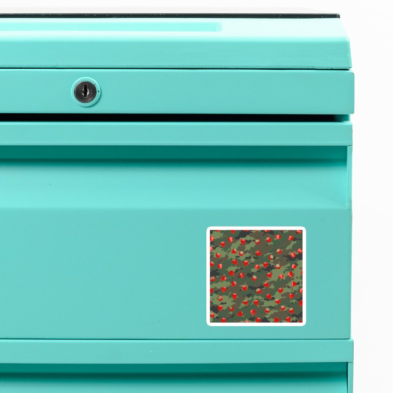 Kawaii Strawberry Camo WOODLAND Accessories Magnet by Grandio Design Artist Shop