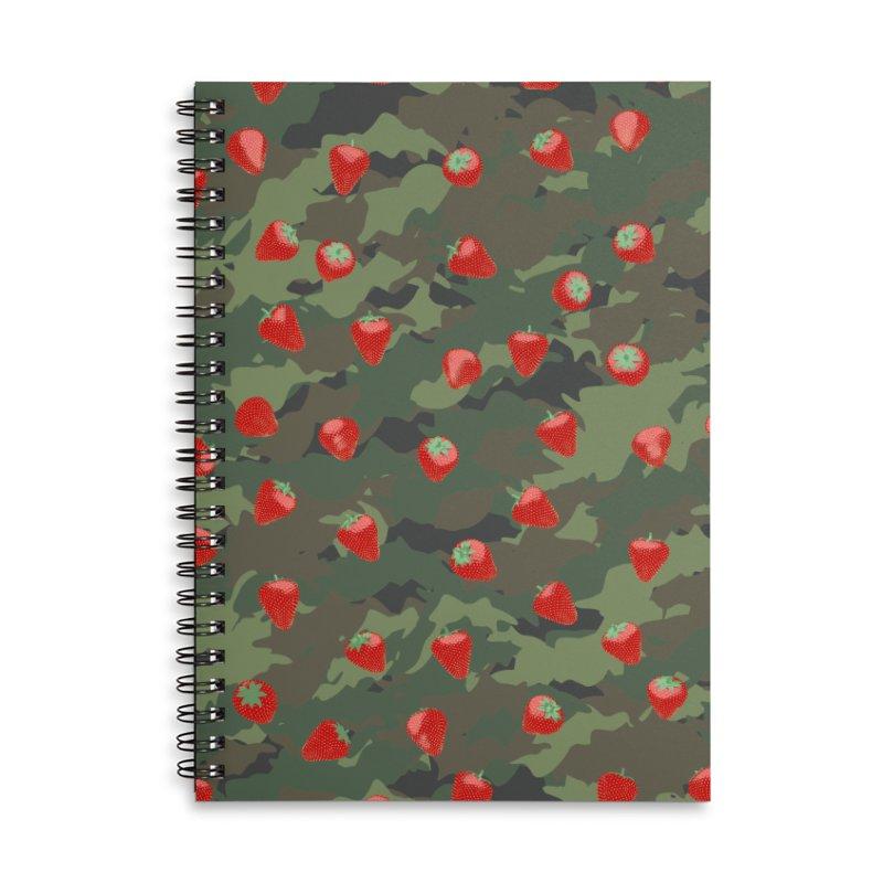 Kawaii Strawberry Camo WOODLAND Accessories Lined Spiral Notebook by Grandio Design Artist Shop
