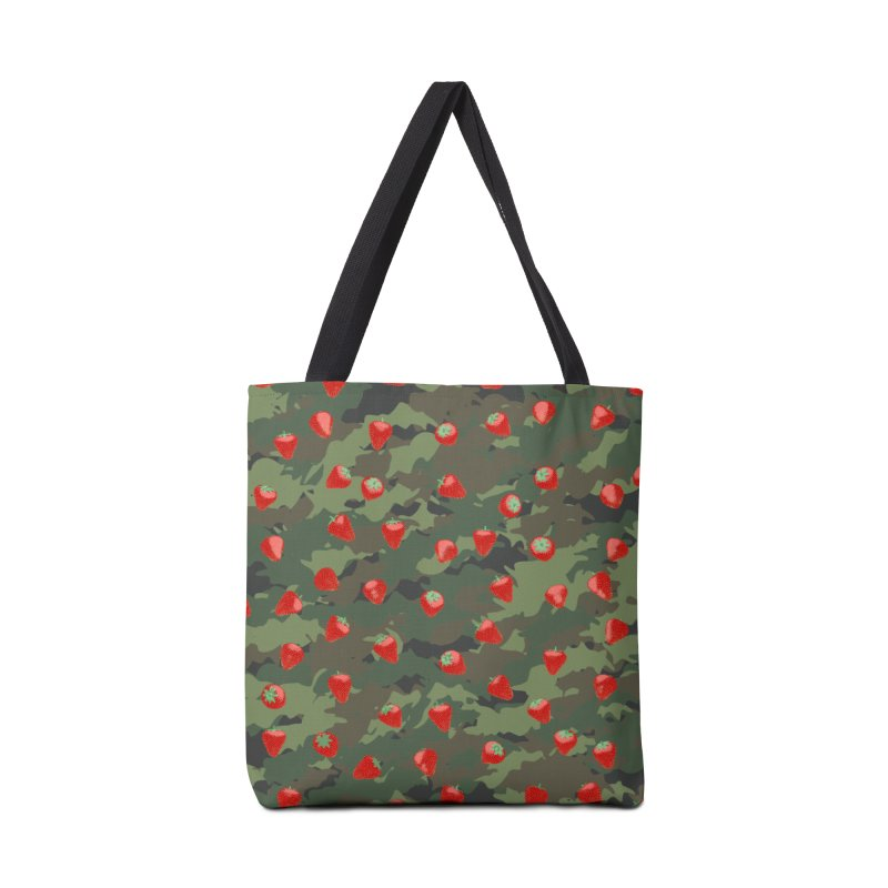 Kawaii Strawberry Camo WOODLAND Accessories Tote Bag Bag by Grandio Design Artist Shop