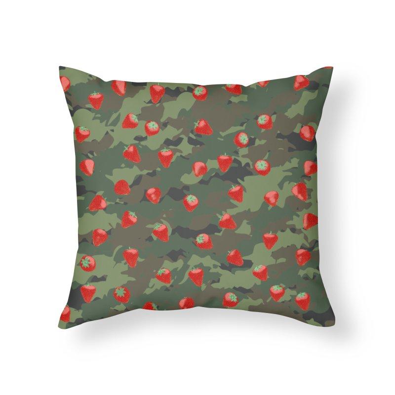 Kawaii Strawberry Camo WOODLAND Home Throw Pillow by Grandio Design Artist Shop