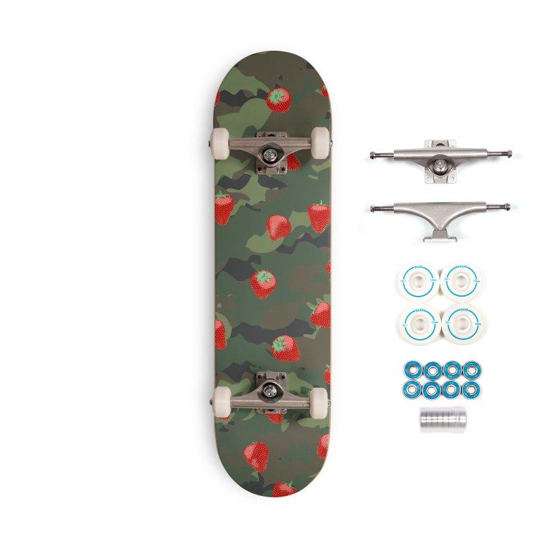 Kawaii Strawberry Camo WOODLAND Accessories Complete - Basic Skateboard by Grandio Design Artist Shop