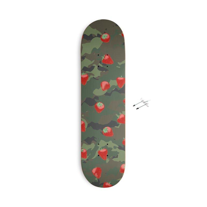 Kawaii Strawberry Camo WOODLAND Accessories With Hanging Hardware Skateboard by Grandio Design Artist Shop