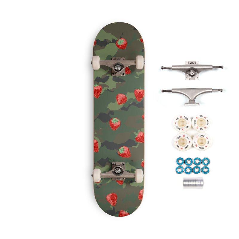 Kawaii Strawberry Camo WOODLAND Accessories Complete - Premium Skateboard by Grandio Design Artist Shop