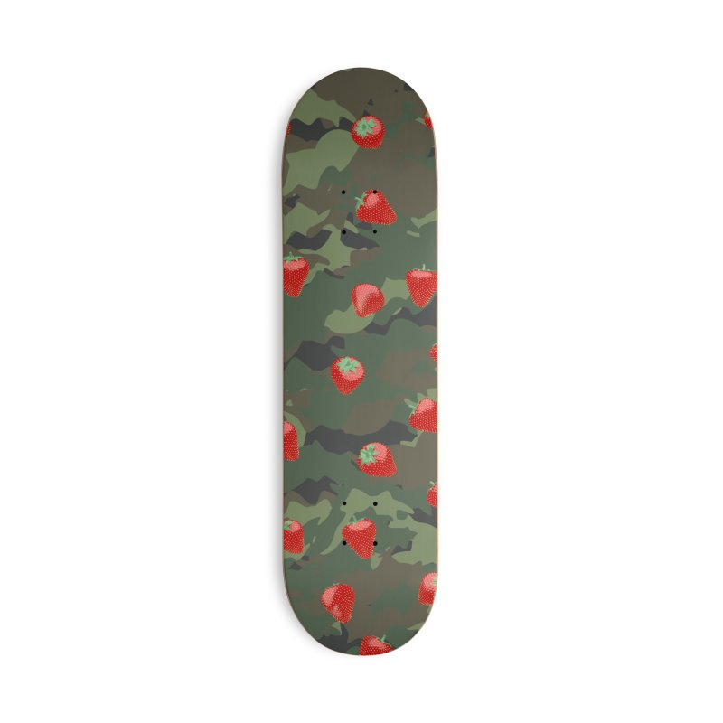 Kawaii Strawberry Camo WOODLAND Accessories Deck Only Skateboard by Grandio Design Artist Shop