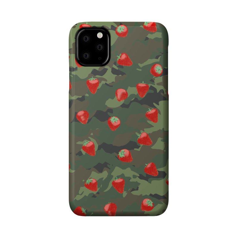 Kawaii Strawberry Camo WOODLAND Accessories Phone Case by Grandio Design Artist Shop