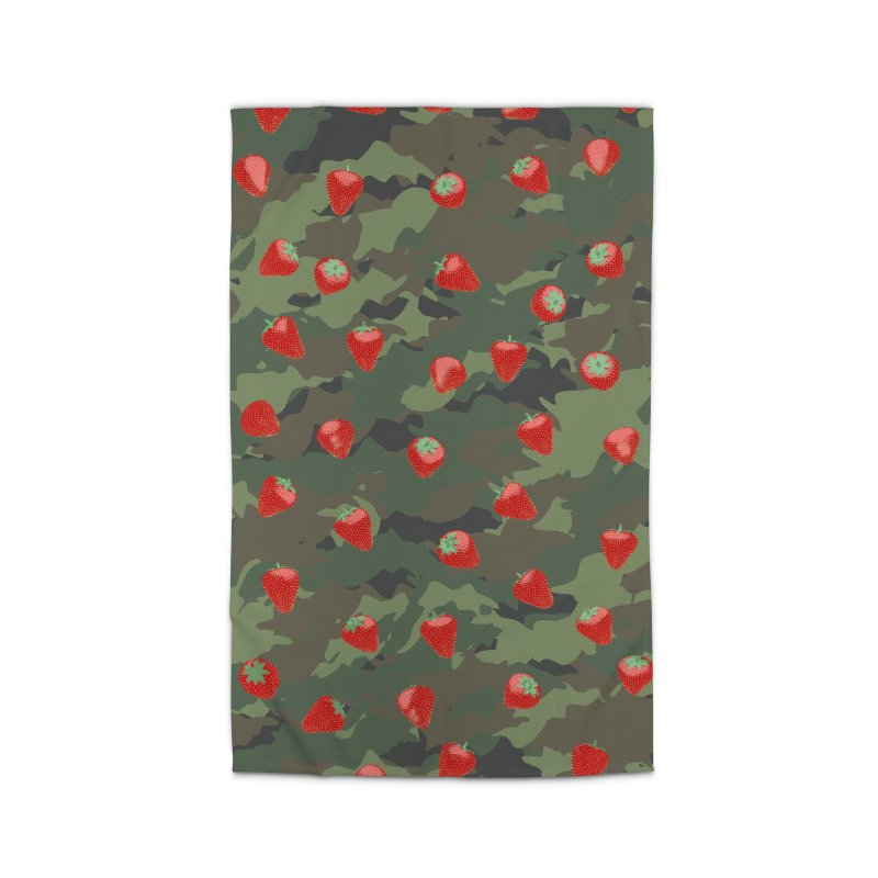 Kawaii Strawberry Camo WOODLAND Home Rug by Grandio Design Artist Shop