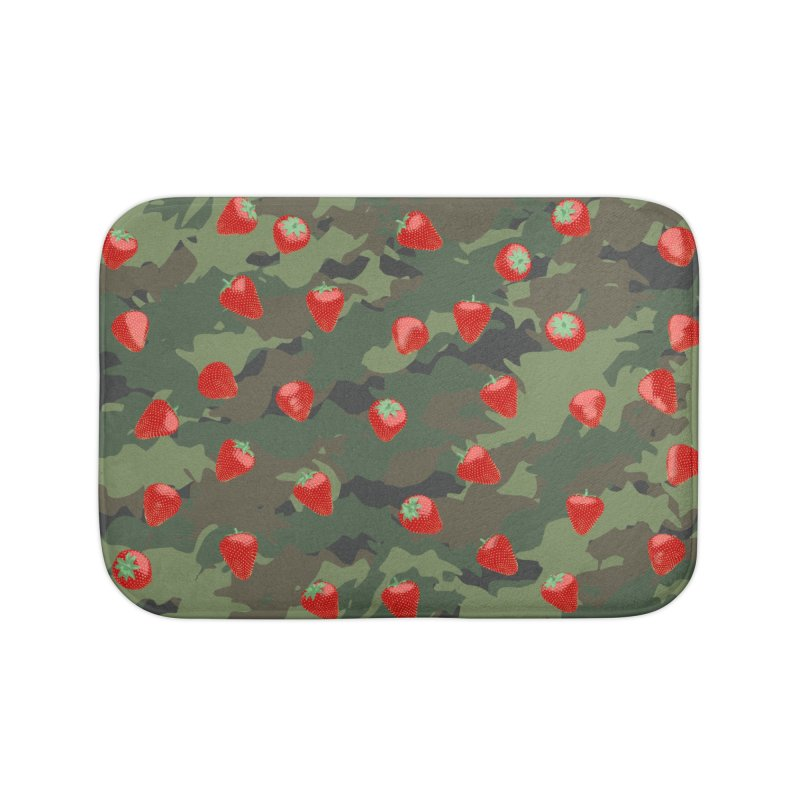 Kawaii Strawberry Camo WOODLAND Home Bath Mat by Grandio Design Artist Shop