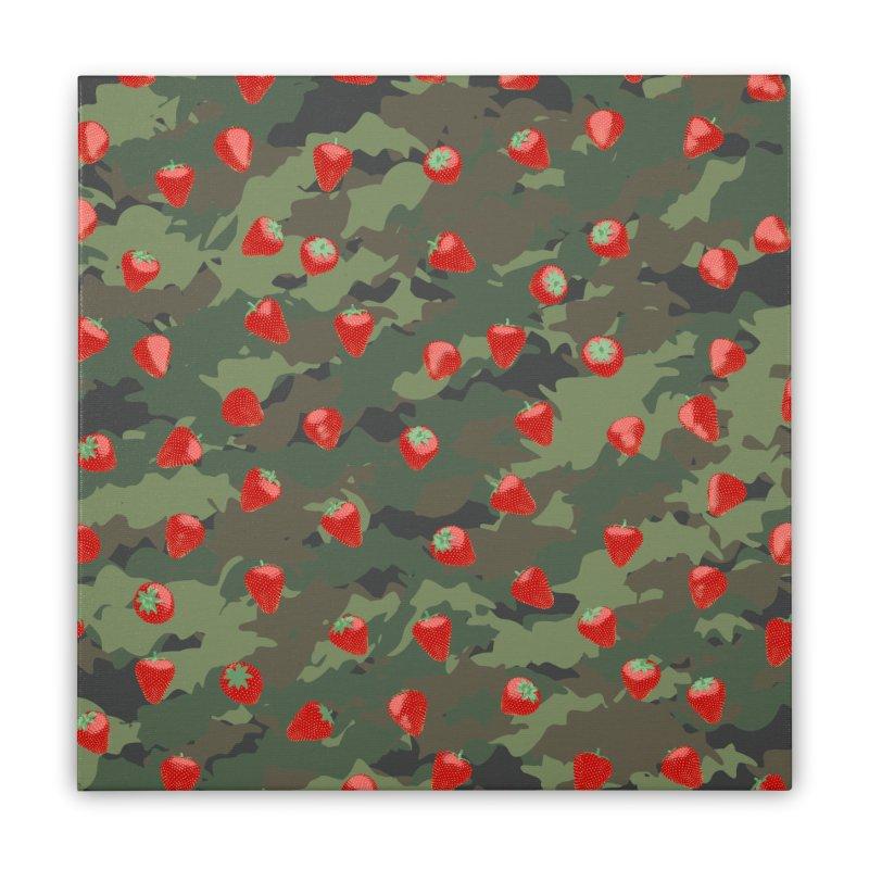 Kawaii Strawberry Camo WOODLAND Home Stretched Canvas by Grandio Design Artist Shop