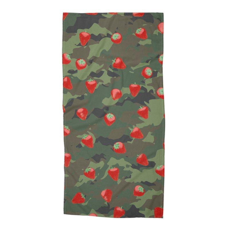 Kawaii Strawberry Camo WOODLAND Accessories Beach Towel by Grandio Design Artist Shop