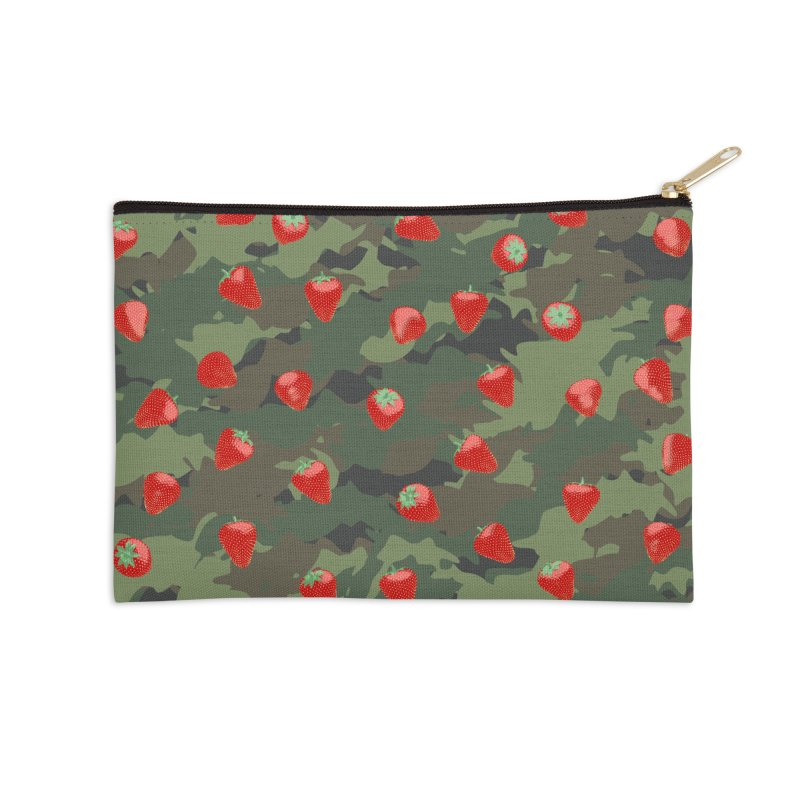 Kawaii Strawberry Camo WOODLAND Accessories Zip Pouch by Grandio Design Artist Shop