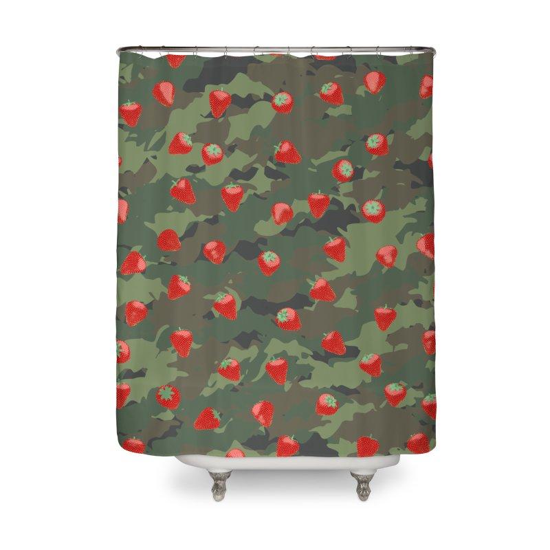 Kawaii Strawberry Camo WOODLAND Home Shower Curtain by Grandio Design Artist Shop