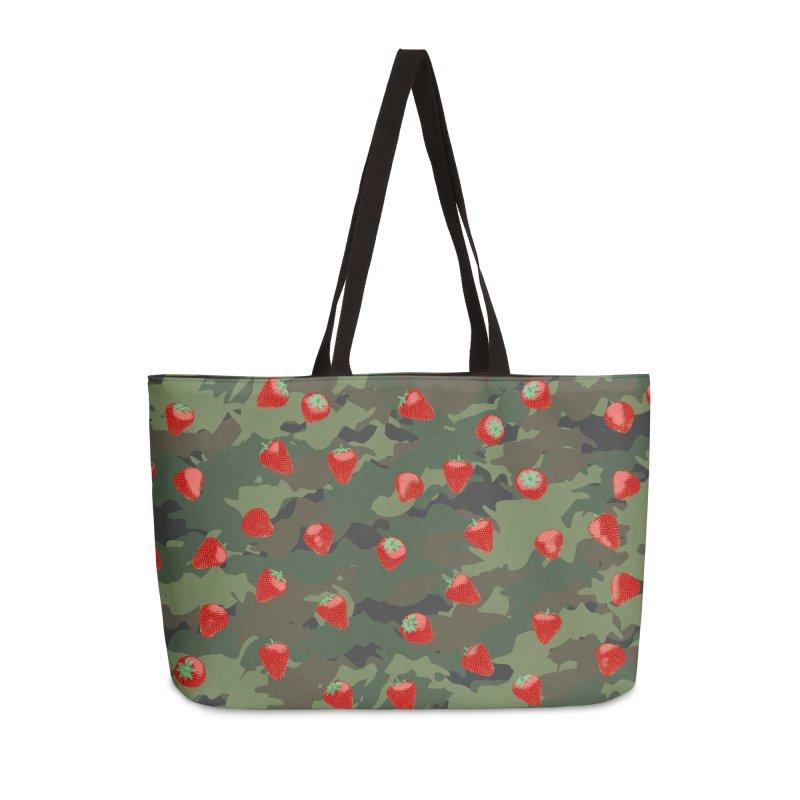 Kawaii Strawberry Camo WOODLAND Accessories Weekender Bag Bag by Grandio Design Artist Shop