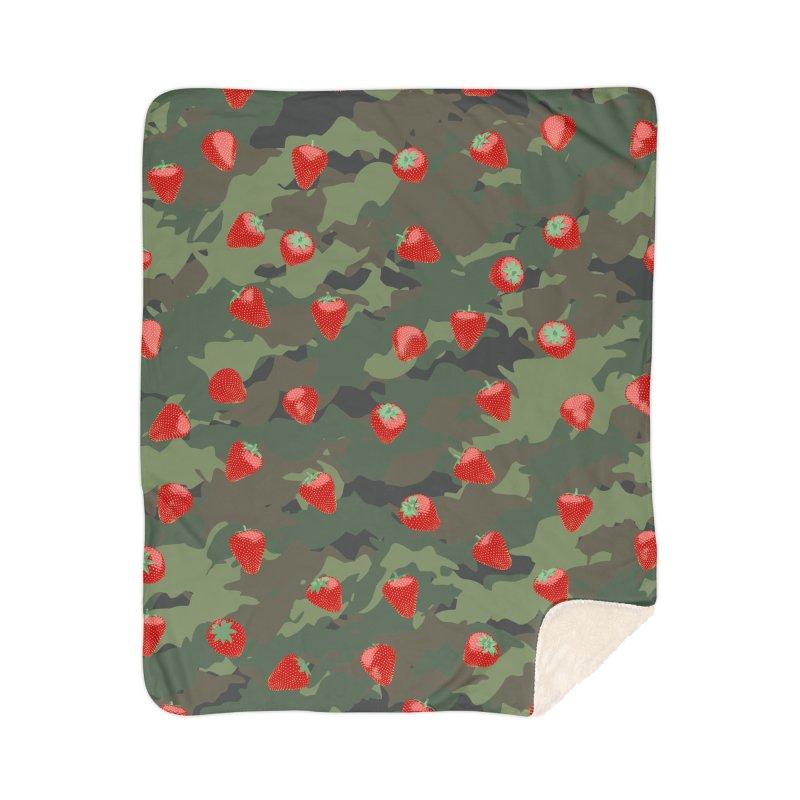 Kawaii Strawberry Camo WOODLAND Home Sherpa Blanket Blanket by Grandio Design Artist Shop
