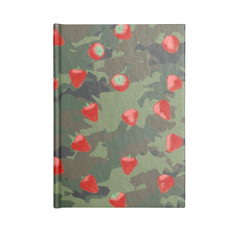 Kawaii Strawberry Camo WOODLAND Accessories Blank Journal Notebook by Grandio Design Artist Shop