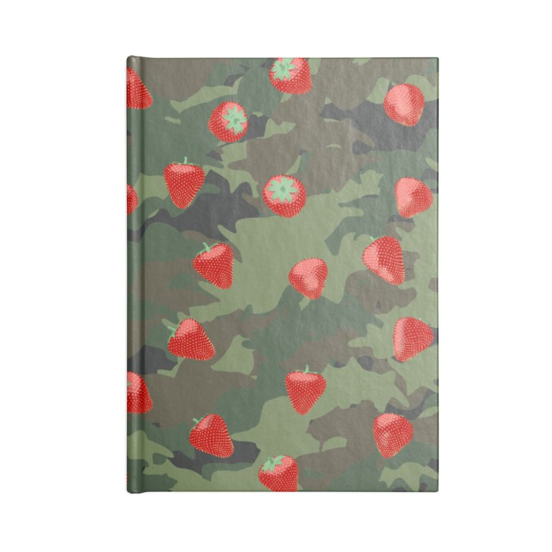Kawaii Strawberry Camo WOODLAND Accessories Lined Journal Notebook by Grandio Design Artist Shop