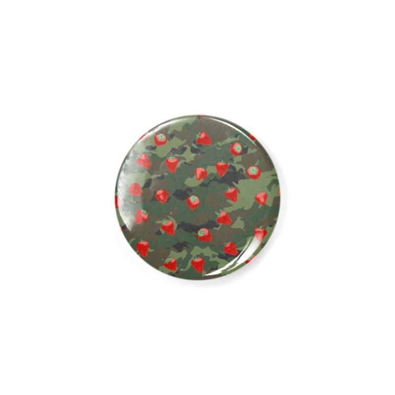 Kawaii Strawberry Camo WOODLAND Accessories Button by Grandio Design Artist Shop