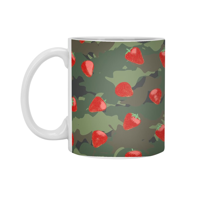 Kawaii Strawberry Camo WOODLAND Accessories Standard Mug by Grandio Design Artist Shop
