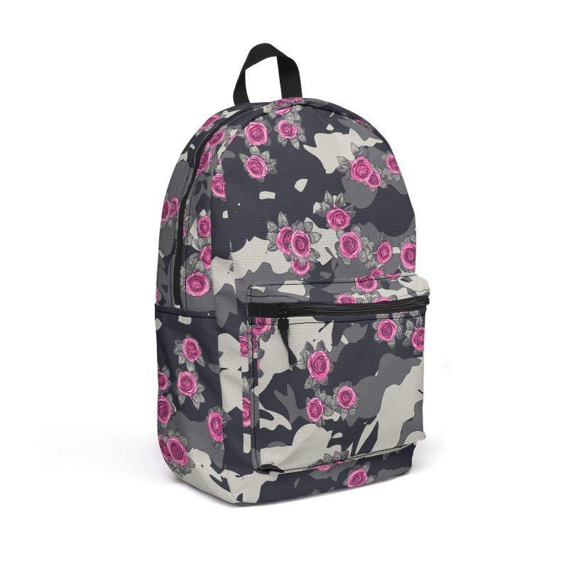 Roses Pink Camo URBAN VINTAGE Accessories Backpack Bag by Grandio Design Artist Shop